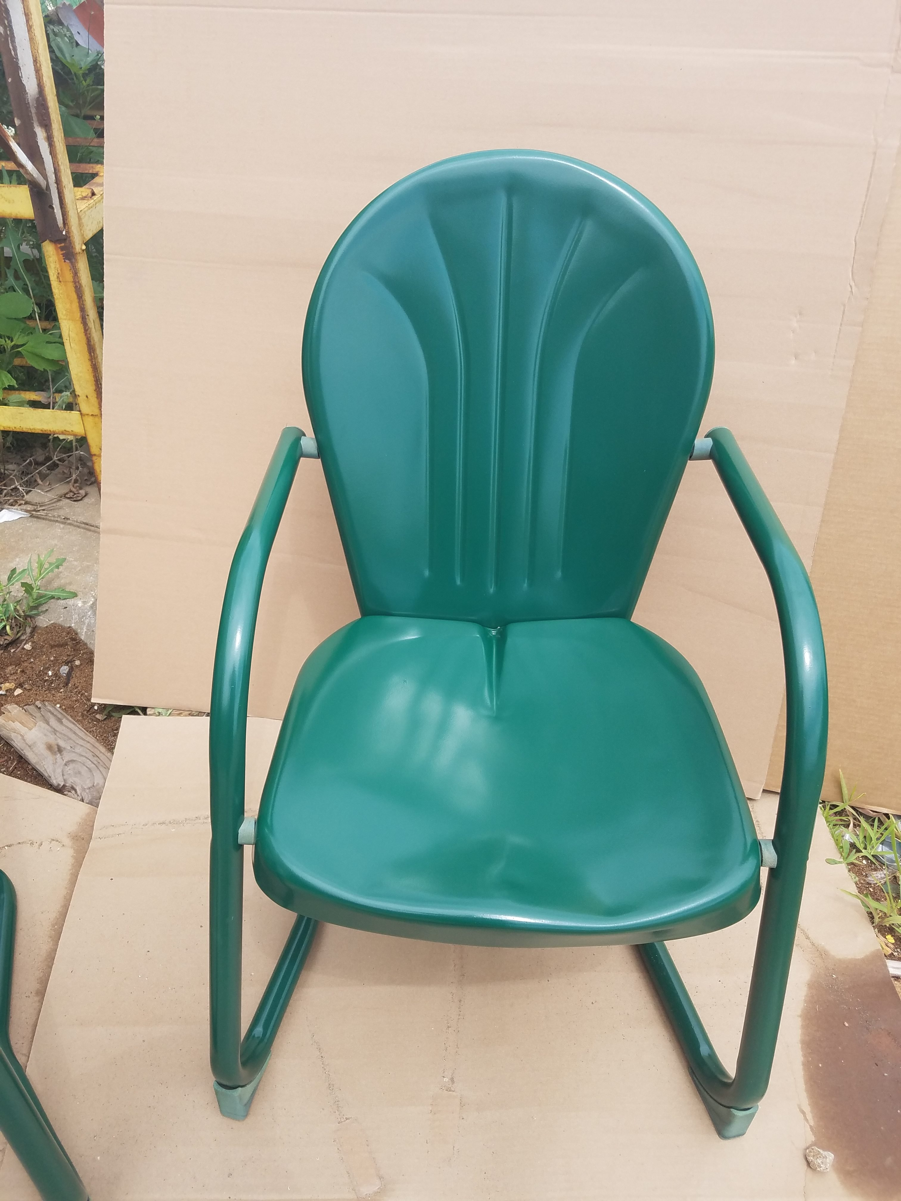 Green chair powder coated outdoor furniture