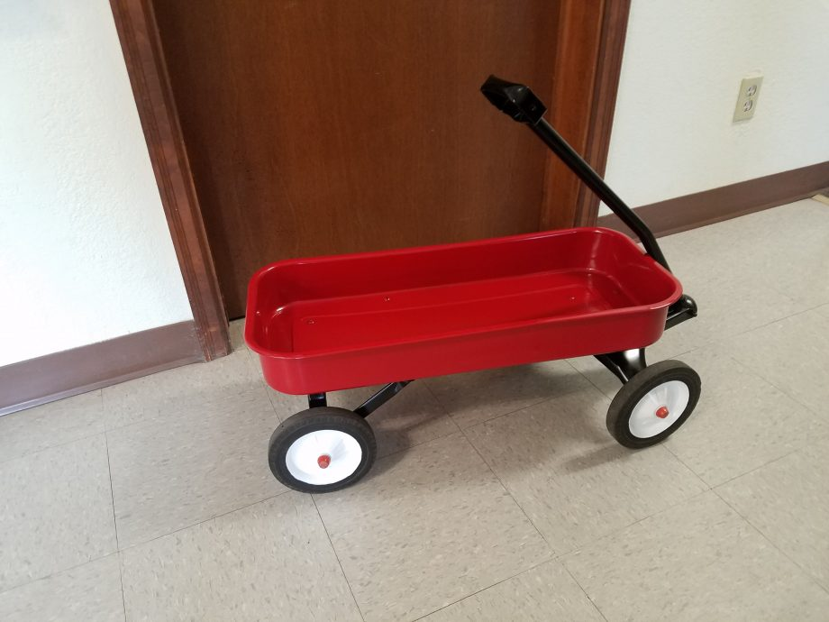 Side of Powder coated radio flyer wagon
