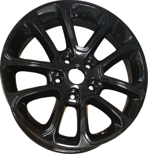 Black powder coated car rim